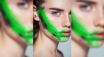 Mujer con pintura verde