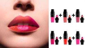 Labios pintados en multicolor