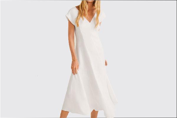 Vestido midi blanco con cuello en V