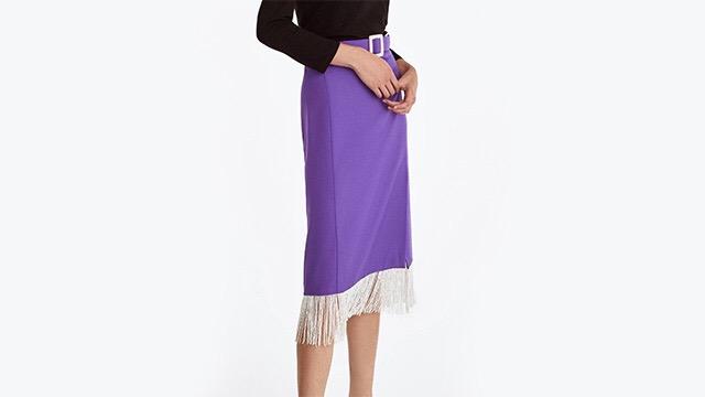 Falda morada con flecos
